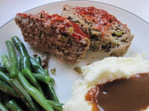 Meatloaf and mashed potatoes were made ahead.  Green beans were prepped and gravy was quick!