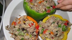 Adding the peppers to the filling make them colorful inside and out!