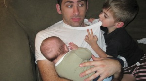 If your little brother gets hungry and starts to eat your dad's shirt, eat your dad's shirt, too.