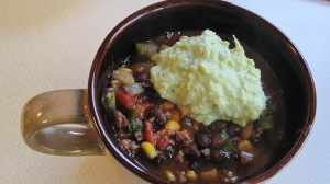 Here's a piping hot bowl served with Avocado Sour Cream.