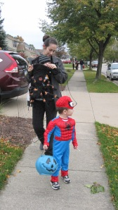 Here you can see Spiderman out front. Baby D is tucked in the spider web I'm wearing.