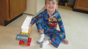 While all this prep was going on, Ozzy made his first block car from start to finish all by himself!