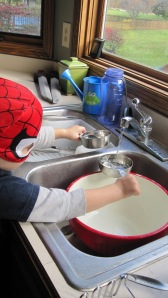 If your kid cook still wants to help after putting it in the oven, put him to work on the dishes.