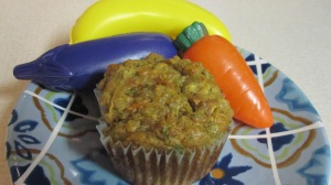 Shredded carrots and zucchini give these muffins orange and green throughout.
