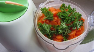 Fresh curly parsley with carrots.