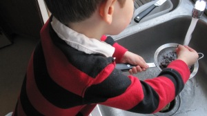 Something as simple as rinsing beans can keep a kid cook busy while you do the cooking he can't yet!